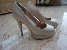DOROTHY PERKINS Ladies Beige Satin Peep Toe/Platform Shoes, Daimante 4 UK- 37 EU
