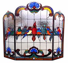 ROYAL BIRDS STAINED GLASS FIREPLACE SCREEN * Cardinal Finch Parrot Blue Robin