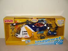 Fisher Price Imaginext Helicopter Rescue Gift Set W Figure/Motorcycle/Comic Book