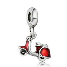 Man Motorcycle 925 Silver European Red Charms For Brand Sterling Bead Bracelet