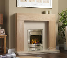 ELECTRIC OAK WOOD SURROUND CREAM MODERN BRUSHED SILVER WALL FIRE FIREPLACE SUITE