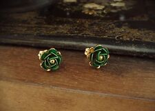 Vintage Gold & Emerald Green Rose  Stud Earrings Very Dolce & Gabbana