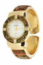 New Geneva Gold Plated Olive Green Rust Jasper Stone Stretchable Bangle Watch