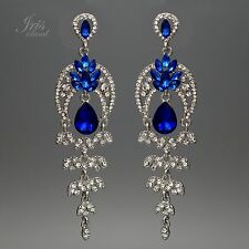 Rhodium Plated Blue Crystal Rhinestone Drop Dangle Chandelier Earrings 0461 New