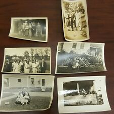 Lot of 6 Vintage Black & White Family Group Friends Photos Country Houses