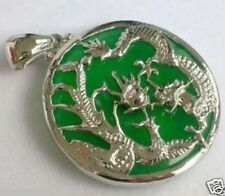 hot Green Jade Silvered Dragon Phoenix Pendant and Necklace