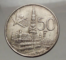 1958 BELGIUM - Silver 50 Francs Coin - BRUSSELS WORLD's FAIR 58 Baudouin i57142