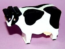HAND PAINTED WOODEN HOLSTEIN COW BOVINE MINIATURE FIGURINE COLLECTIBLE USA MADE