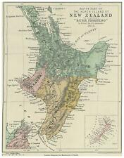 Map of North Island New Zealand Bush Fighting 1873 Alexander 6x5 Inch Repro nbl