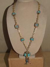 Vtg Egyptian Revival Faux Turquoise Ceramic Scarab Glass Tassel Pendant Necklace