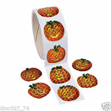 1 Roll HALLOWEEN Party Favors Prizes PRISM PUMPKIN Jack O Lantern STICKERS