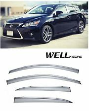 WellVisors Clip On Side Window Visors W/ Chrome Trim For 11-UP Lexus CT200H