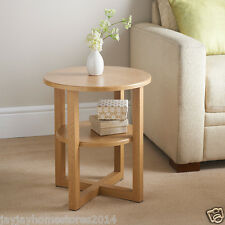 Contemporary round shaped  Oak Finish Milton Side Table