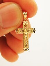 10k Yellow Gold Cross Charm pendant  Men's Women's Children's Gold Crucifix