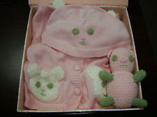 New April Cornell Baby Gift 3pc Set Pink Newborn Infant 6M 1Y Teddy Bear Sweater