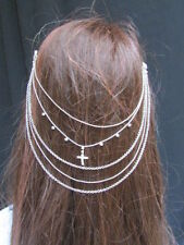 New Women Head Metal Chains Fashion Silver  Jewelry Hair Rhinestones Cross Pins