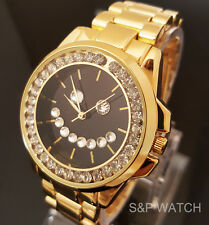 Luxury Bling Gold PT Iced Out Moving CZ HAPPY SMILE FACE Metal Band Dress Watch