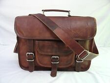 "14x10"" Vintage Leather 13"" Macbook Briefcase Cross Body Messenger Bag Satchel"