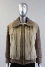 Beige Knit Zip Sweater With Pearl Corded Mink Fur Size XS-S