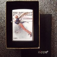 NIB Vintage 2000 Norman Rockwell Zippo Lighter Saturday Evening Post Uncle Sam