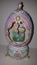 Decorative Mechanical Music Box Resin Easter Egg Butterflies The Entertainer