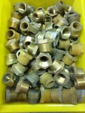 """(Lot Of 10) 3/4"""" Male x 1/2"""" Female NPT Brass Pipe Reducer Hex Bushing ."""
