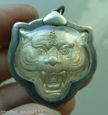 OLD THAI  TIGER  TEMPLE BUDDHA MONK L.P. PERN   & TIGERS  HEAD AMULET PENDANT