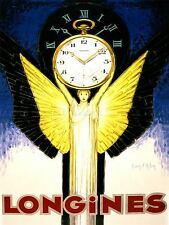 ADVERTISING LONGINES WATCH TIME CLOCK FRANCE ANGEL BRIGHT ART POSTER PRINT LV943