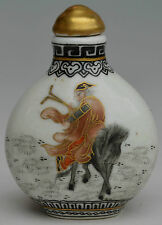 18c porcelain gold hand made drawing one of 8 immortal zhangguolao snuff bottle
