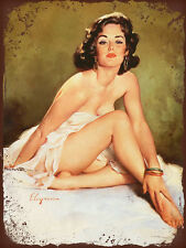 vintage retro style Elvgren sexy pin up nude image metal sign tin wall plaque