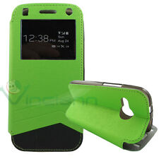 Custodia flip cover S-View per HTC One mini 2 verde finestra touch simil pelle