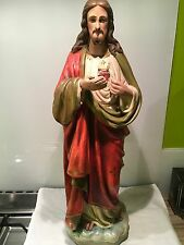 Large Antique Painted Plaster Statue Of Jesus,sacred Heart, 65 Cm Tall