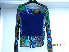 LULU H blue patterned stretch fitted net cardigan top size M/L