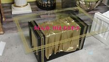 Couchtisch Glastisch Tisch Wohnzimmertisch Säule Mesusa Möbel Gold Schwarz