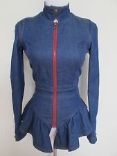 NWT Auth Betsey Johnson Blue Stretch Denim Red Stitch Peplum Zip Jacket Top Sz 4