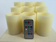 "Set of 9 Flameless Mulit-colored  ""Flame"" Ivory Pillar Candles w/Remote"