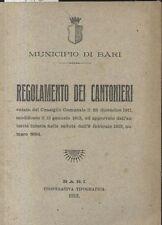 LIBRO - REGOLAMENTO DEI CANTONIERI municipio di Bari 1913 cooperativa tipografic