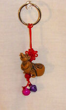 NEW CHINESE ZODIAC RAT MOUSE & SACK OF LUCKY COINS KEY RING CELL PHONE ACCESSORY