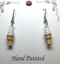 Hand Painted Vanilla Ice Cream Cone Charm Earrings