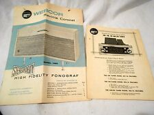 1959 Webcor Ravina Coronet Hogh Fidelity Fonograf Instruction Booklet- another