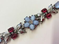 Rare!!! TRIFARI Older Light Blue Glass Cabochon, Red & Clear Rhinestone Bracelet