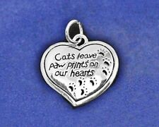 Sterling Silver Pl Memorial Charm Cats Leave Paw Prints on our Hearts Cat Lover