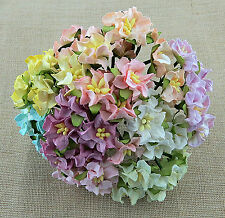 Mulberry Paper Flowers 10 x 35mm GARDENIAS - Mixed PASTEL SHADES - For Crafts