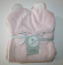 "New Carter's Boa Soft Fleece Blanket Hooded Bear Ears Pink 40"" x 30"" NWT"