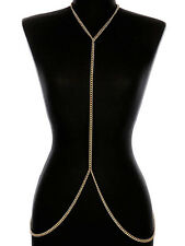 "16"" gold chain body chain bib collar choker necklace"