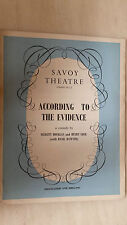 SAVOY THEATRE PROGRAMME 1967 - ACCORDING TO  THE EVIDENCE  (DOUGLAS WILMER)