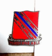 CREST,DI, 411TH ENGINEER BN,CLUTCH BACK, MEYER HM,BLUE OVER RED REVERSED BENDS