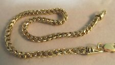 """Solid Yellow and White Gold Box-Link Chain Bracelet-10k. 8.5"""" L SAVE $850.  #600"""