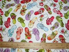 Cotton Fabric Loralie Designs Fun Flip Flops Beach floral Funky Sandles on White
