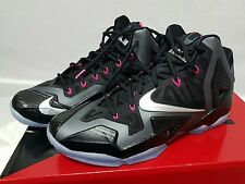 BNIB Genuine Nike LeBron XI black silver pink mens basketball trainers UK 9.5